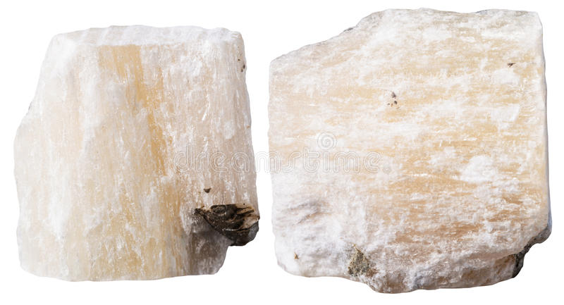 Twee stukken van gips (albast) minerale steen stock afbeeldingen