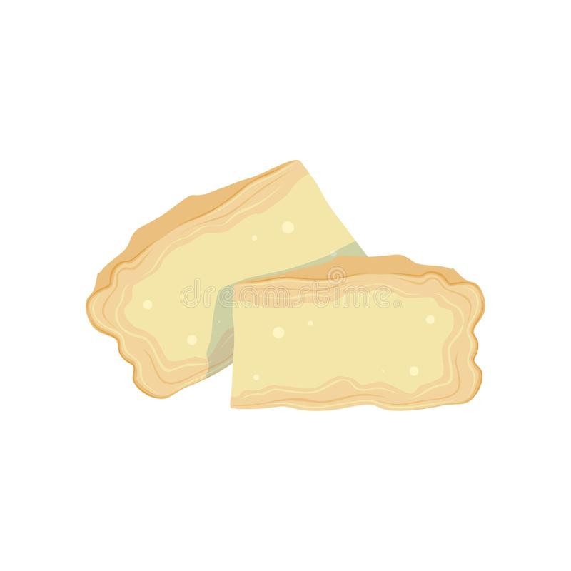Twee stukken van zachte Brie van koes melk Het koken of gezond voedsel Organisch zuivelproduct Geïsoleerde vlakke vector royalty-vrije illustratie