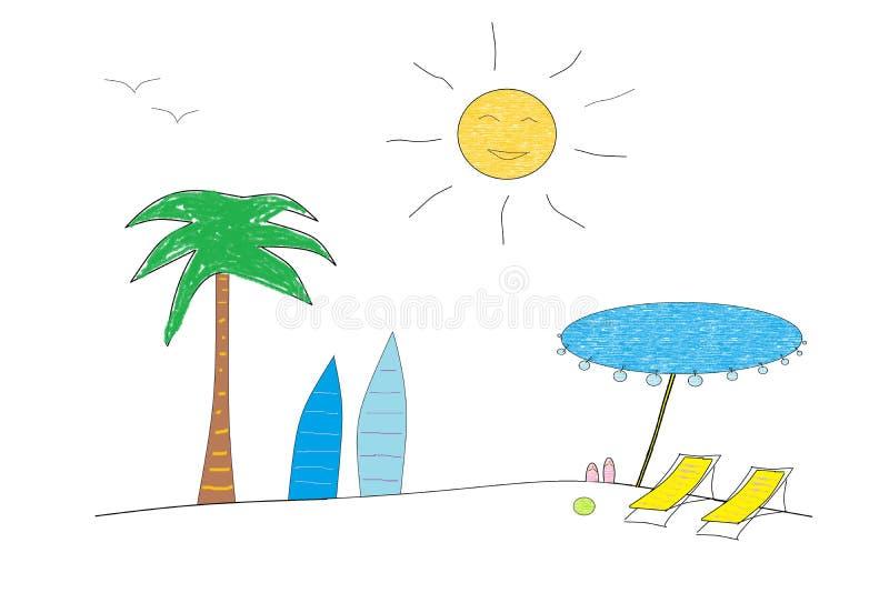 Twee sunbeds met zonparaplu en surfplanken op het zandige strand met palm vector illustratie