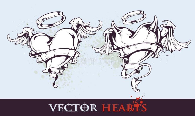 Twee tatoegering gestileerde harten royalty-vrije illustratie