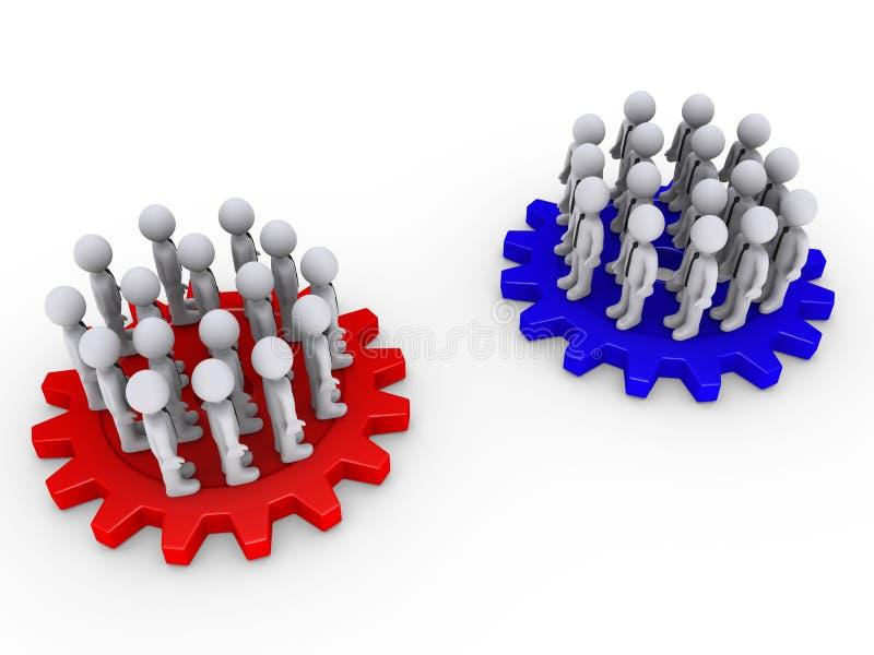 Twee tegenpartijen op tandraderen vector illustratie