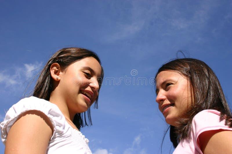 Twee tieners stock foto's