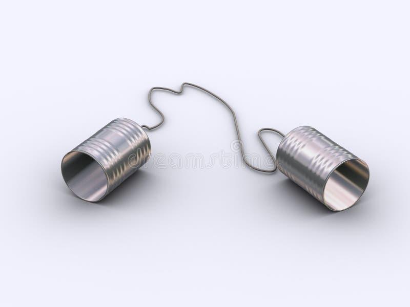 Twee tinblikken en koordtelefoon. royalty-vrije illustratie