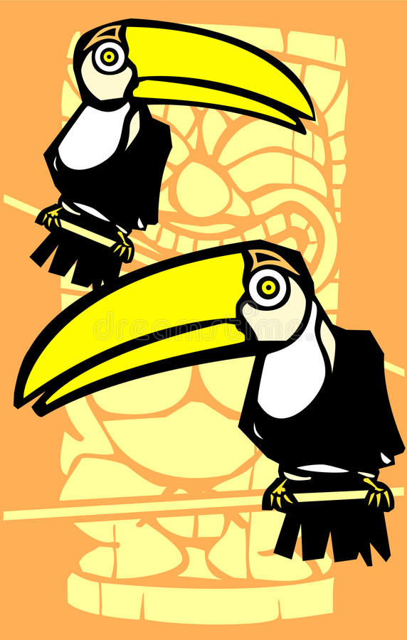Download Twee Toekannen en Tiki vector illustratie. Illustratie bestaande uit vakantie - 10778858