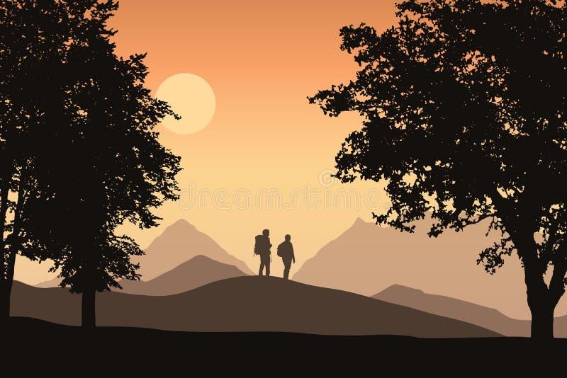 Twee toeristen met rugzakken in berglandschap met vergankelijk vector illustratie