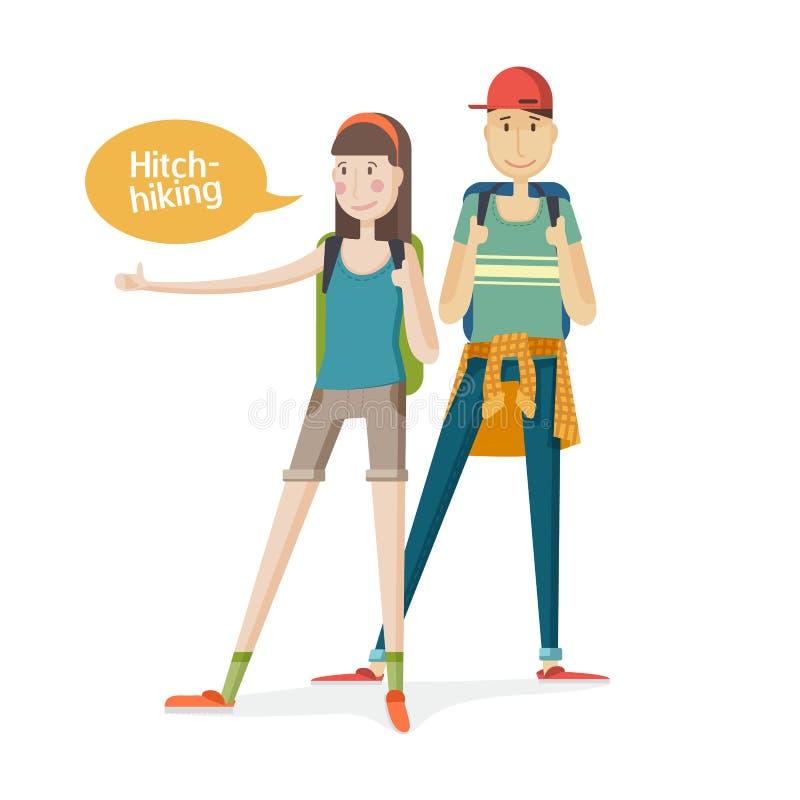 Twee toeristen van het jongerenpaar Paar lift Jongeren met rugzakken met een omhoog vinger Meisje en jongen stock illustratie