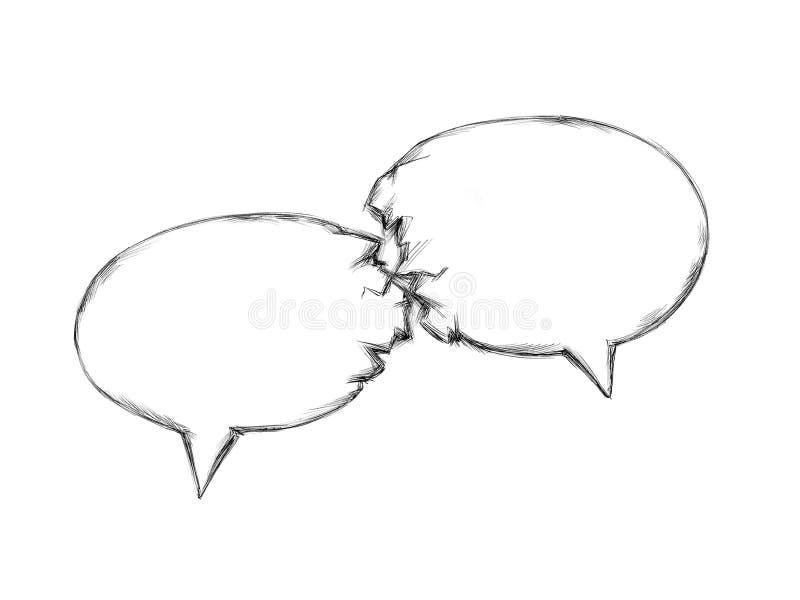 Twee toespraakbellen komen in botsing stock illustratie