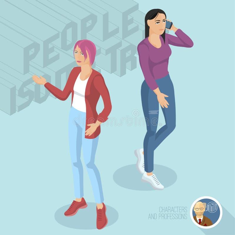 Twee toevallige stijldames die jeans dragen vector illustratie