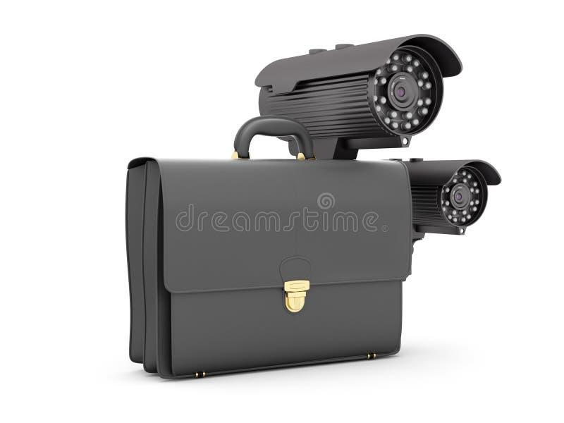 Twee toezichtvideocamera's en bedrijfsaktentas stock illustratie