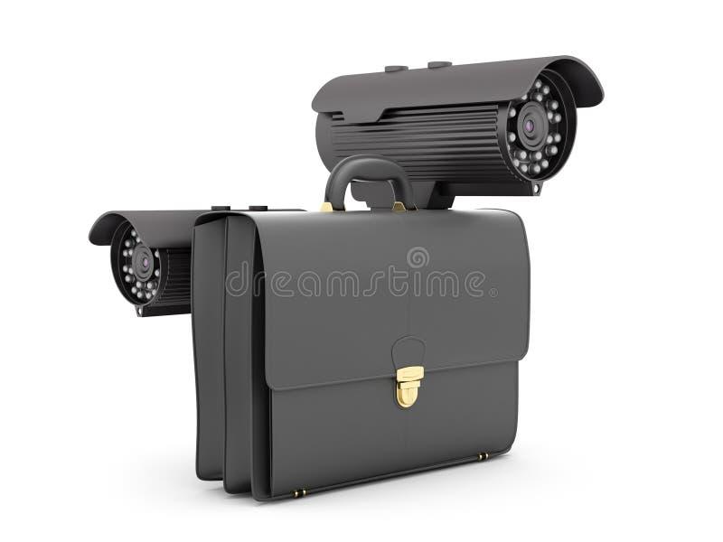 Twee toezichtvideocamera's en bedrijfsaktentas vector illustratie