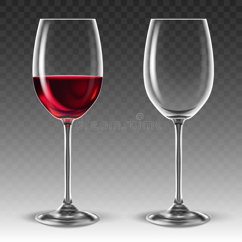 Twee transparante glazen voor wijn, één waarvan half met rode wijn wordt gevuld 3d vector Hoog gedetailleerde realistische illust royalty-vrije illustratie