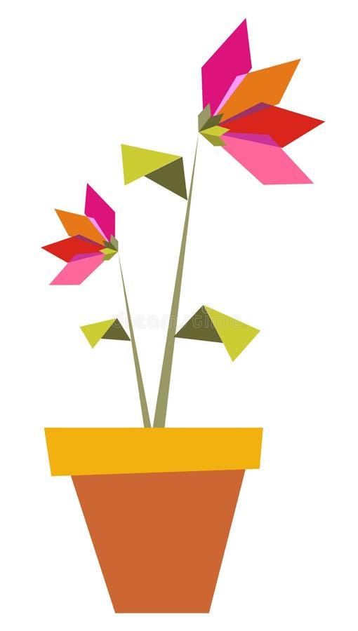 Twee trillende de kleurenbloemen van de Origami. stock illustratie