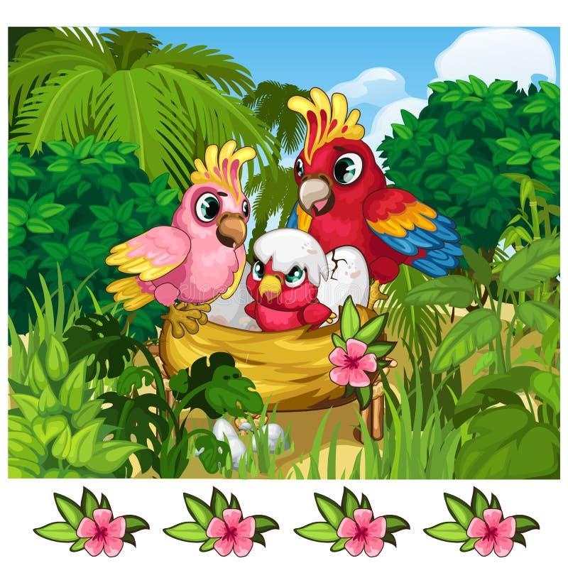 Twee tropische papegaaien en hun nestvogel in aard stock illustratie