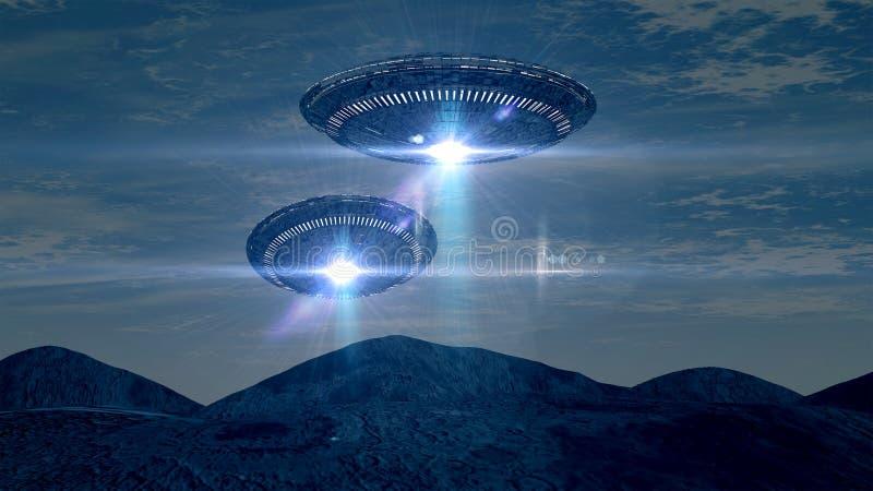 Twee UFOS stock illustratie