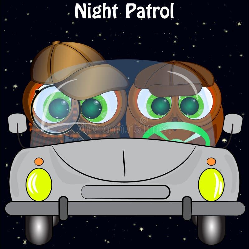Twee uilen in de auto nachtpatrouille vector illustratie