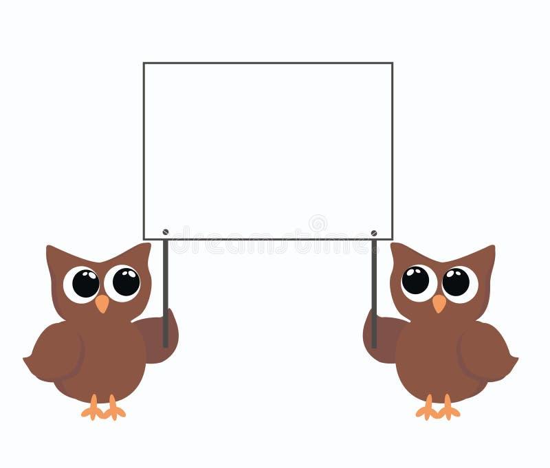 Twee uilen die een aanplakbiljet houden vector illustratie