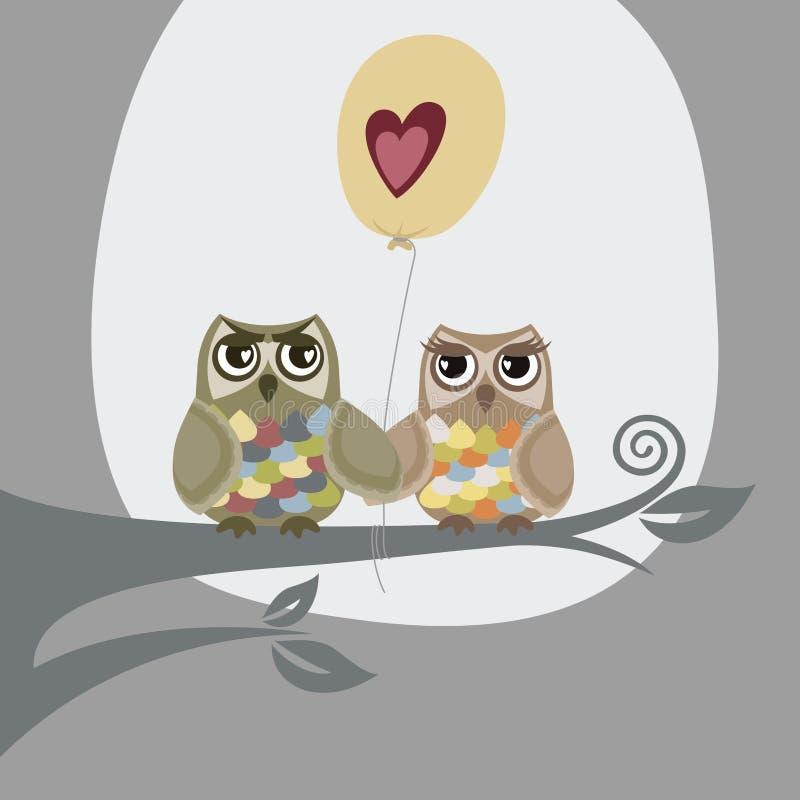 Twee uilen en liefdeballon stock illustratie