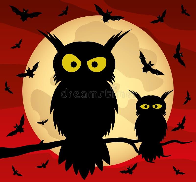 Twee uilen op een boomtak en knuppels stock illustratie