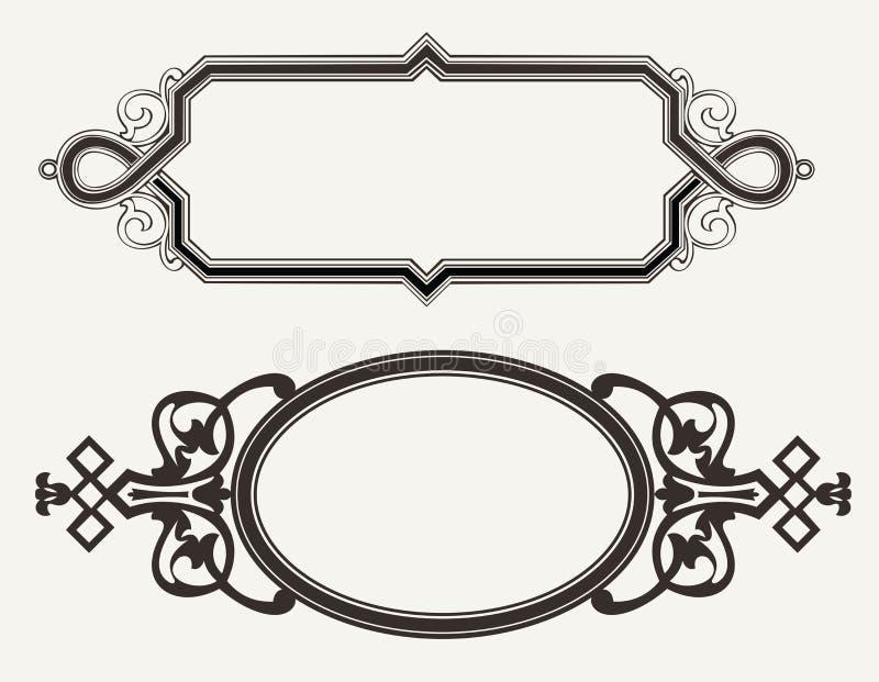 Twee Uitstekende Overladen Frames van de Gravure stock illustratie