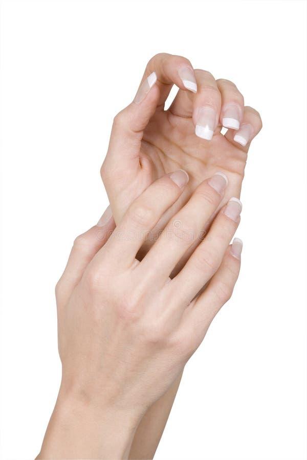 Twee upraised handen stock afbeeldingen