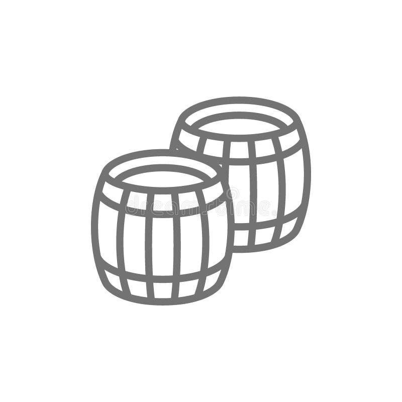 Twee van het lijnwijnvatten pictogram royalty-vrije illustratie