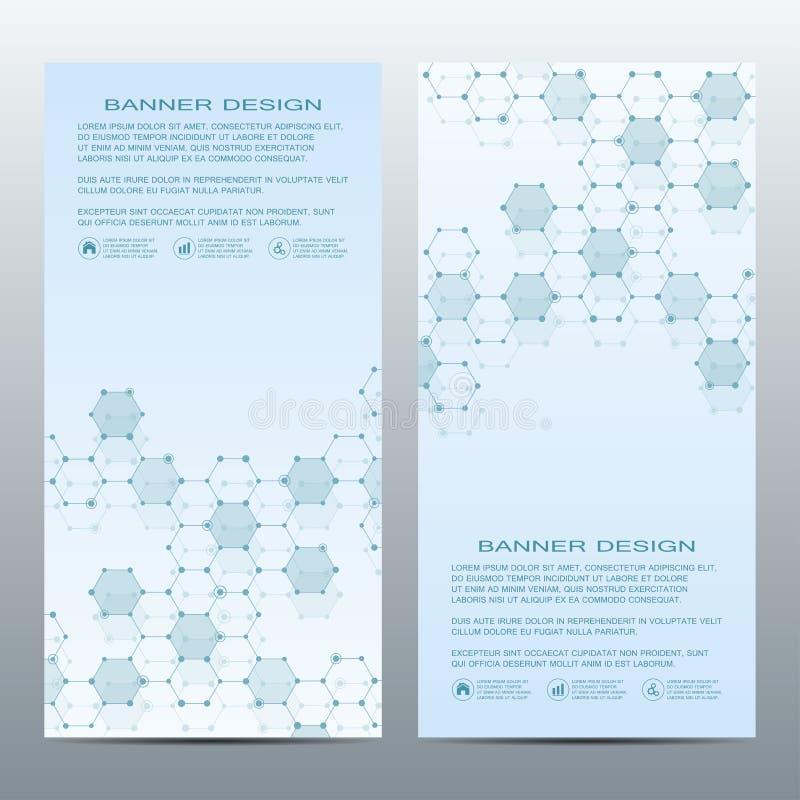 Twee van moderne verticale wetenschappelijke banners Moleculaire structuur van DNA en neuronen Geometrische abstracte achtergrond stock illustratie