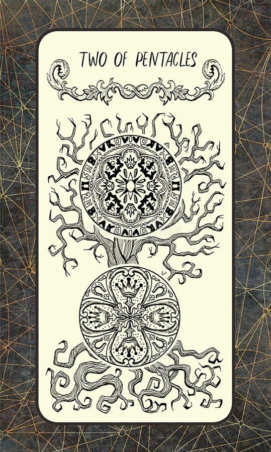 Twee van pentacles De Magische kaart van het Poorttarot royalty-vrije illustratie