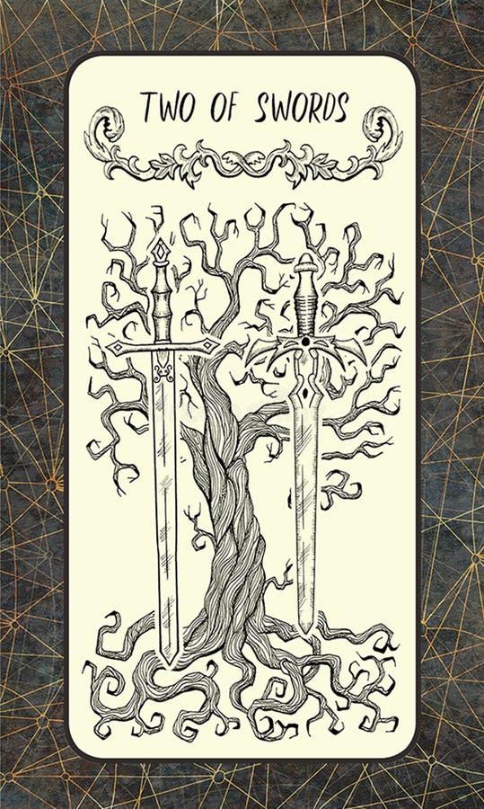 Twee van zwaarden De Magische kaart van het Poorttarot vector illustratie