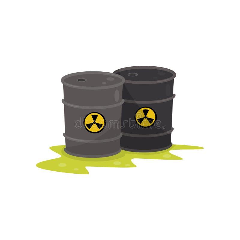 Twee vaten met chemisch radioactief afval, milieuvervuiling vectorillustratie op een witte achtergrond stock illustratie