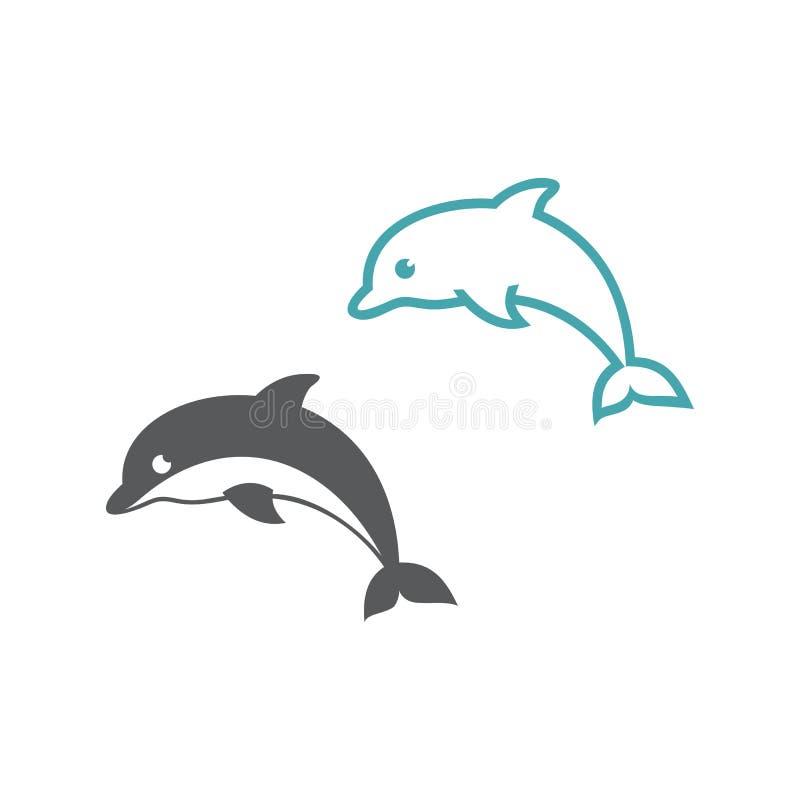 Twee vectorillustratiesdolfijnen vector illustratie