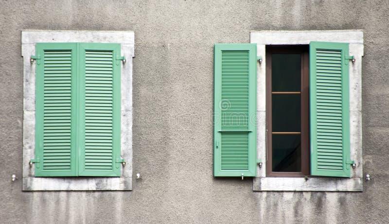 Twee vensters, groene blinden royalty-vrije stock afbeelding