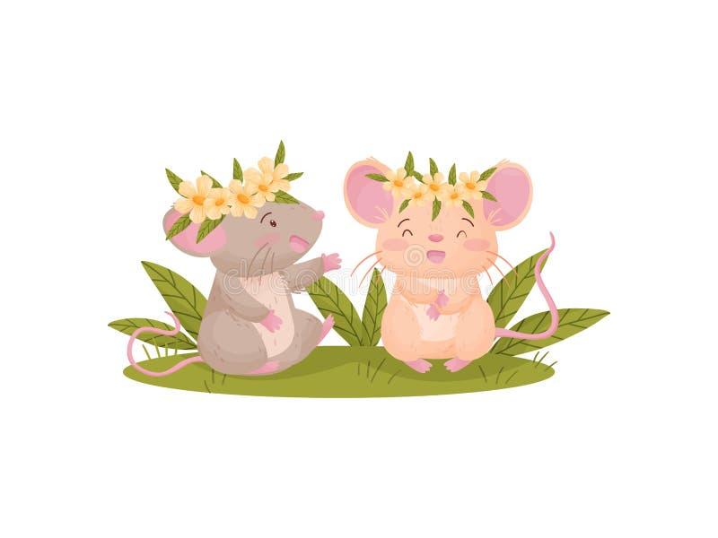 Twee vermenselijkte muizen in bloemkronen Vector illustratie op witte achtergrond vector illustratie