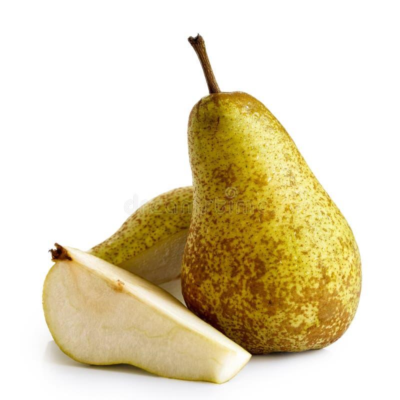 Twee verminderen fetel peren die op wit worden geïsoleerd stock fotografie