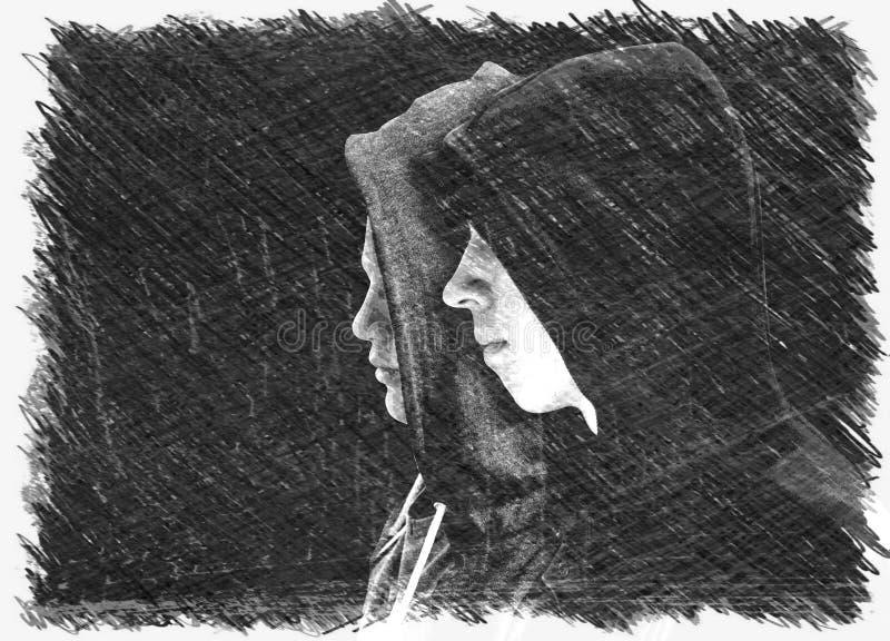 Twee verontrustten tieners met zwarte hoodie die zich naast die elkaar in profiel bevinden op zwarte achtergrond wordt geïsoleerd royalty-vrije stock foto