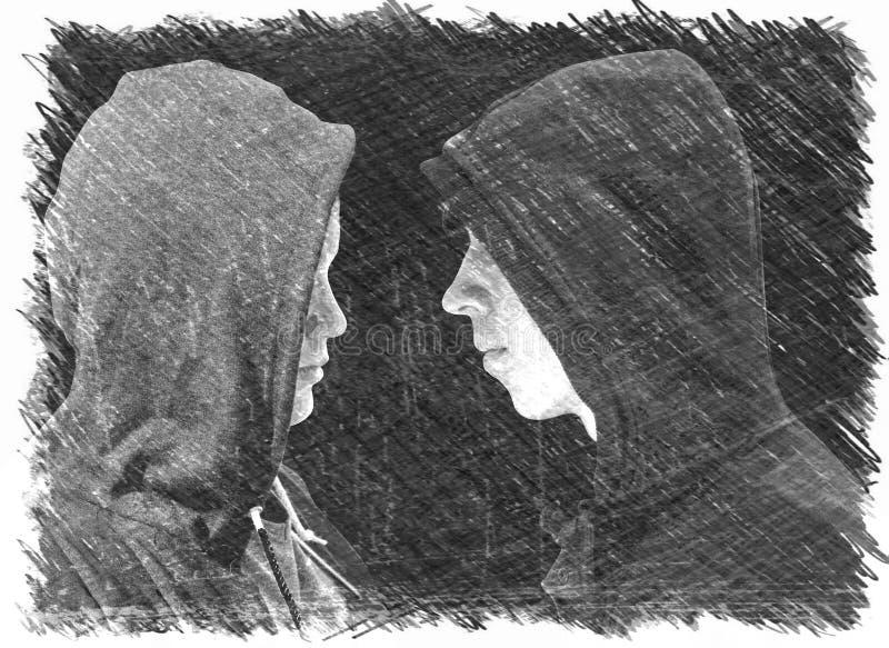 Twee verontrustten tieners met zwarte hoodie die zich voor die elkaar in profiel bevinden op zwarte achtergrond wordt geïsoleerd  royalty-vrije illustratie