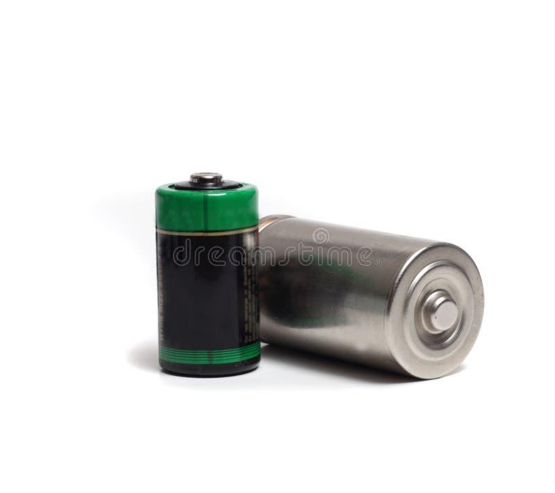 Twee verschillende groottebatterijen royalty-vrije stock foto