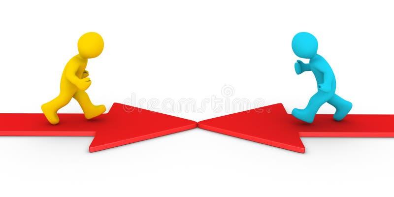 Twee verschillende mensen die op pijlen lopen vector illustratie