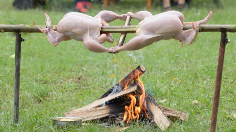 Twee verse kippen op een houten spit die over open brand roosteren royalty-vrije stock foto