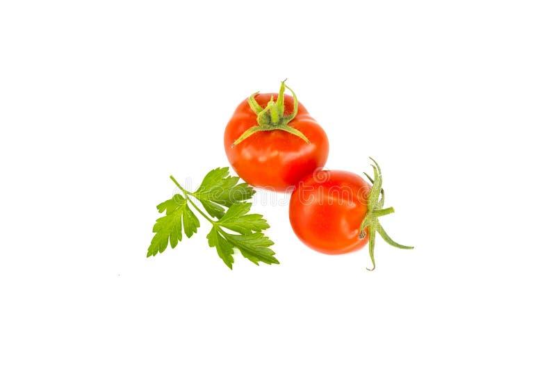 Twee verse sappige rode kersentomaten met groen peterselieblad, natuurvoedingingrediënt, sluiten omhoog, geïsoleerd op wit royalty-vrije stock foto's