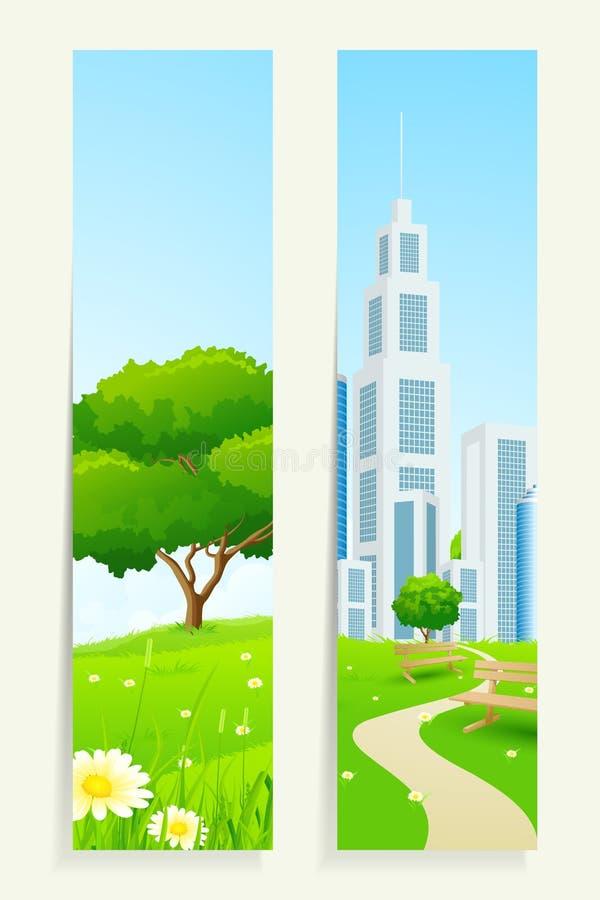 Download Twee Verticale Banners Met Aard Vector Illustratie - Illustratie bestaande uit chamomile, bank: 39115005