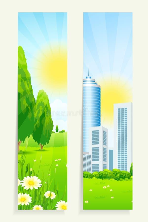 Download Twee Verticale Banners Met Aard En Stad Vector Illustratie - Illustratie bestaande uit wolkenkrabber, nave: 39115004