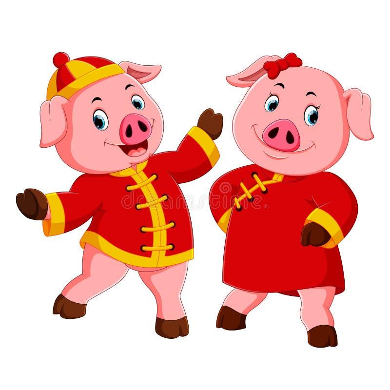 Twee viert het opgewekte roze varkensgebruik het rode kostuum voor Chinees nieuw jaar stock illustratie