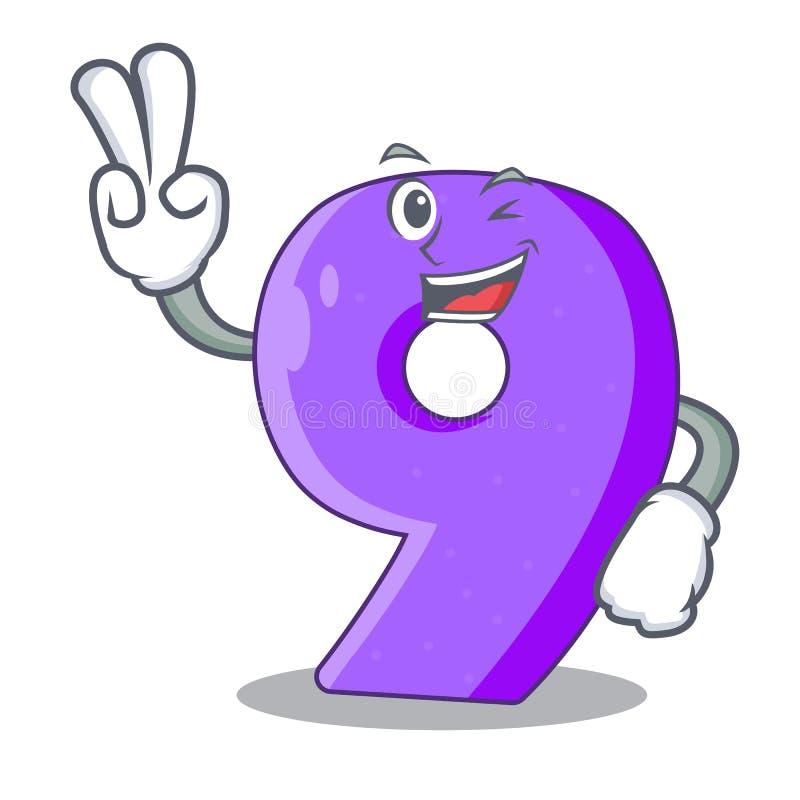 Twee vinger nummer negen atletiek het gestalte gegeven karakter stock illustratie