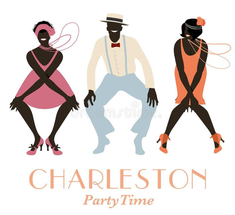 Twee vinmeisjes en één mens dansend Charleston stock illustratie