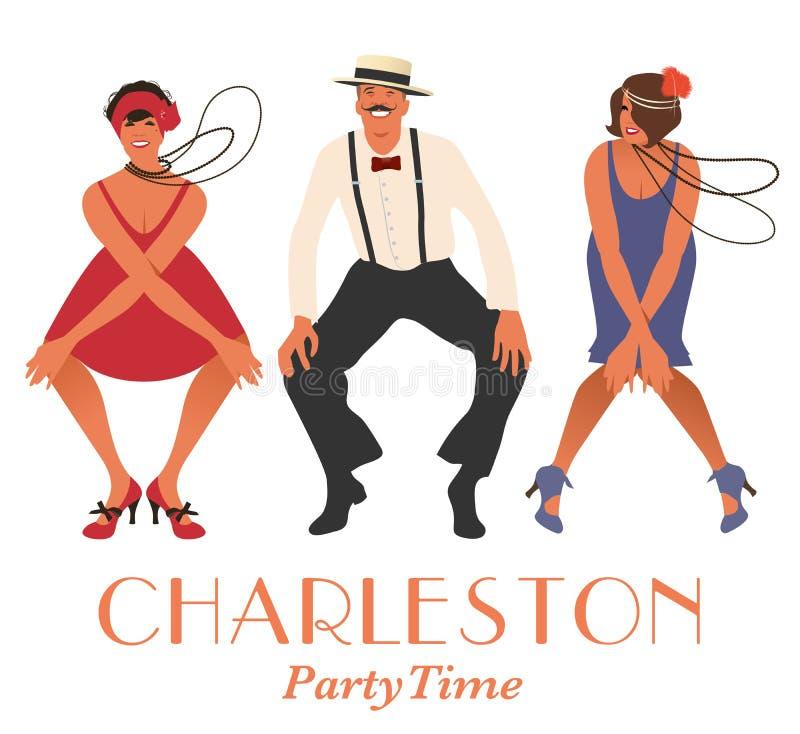 Twee vinmeisjes en één mens dansend Charleston royalty-vrije illustratie