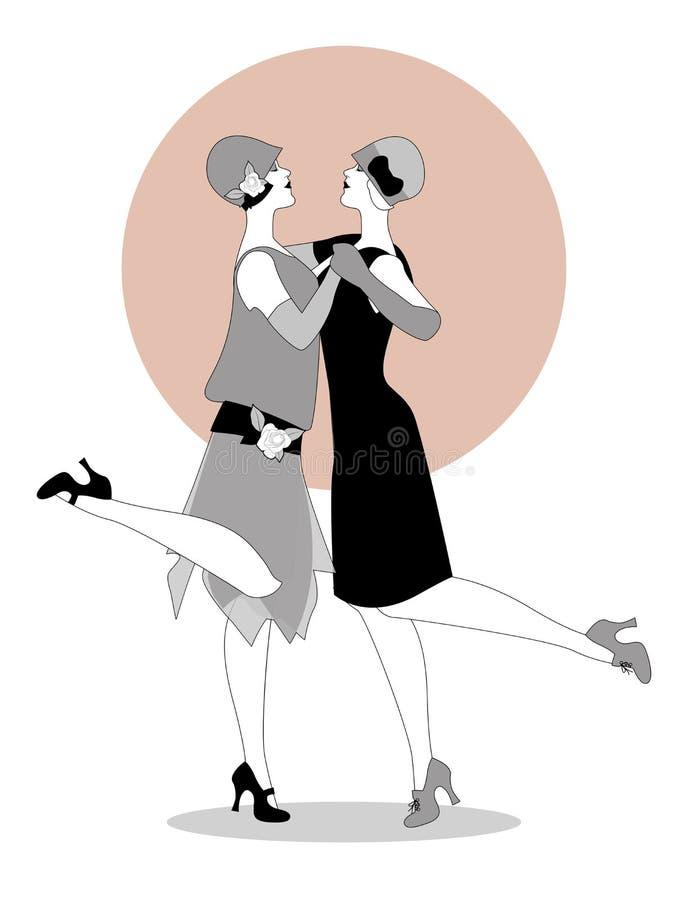 Twee vinnenmeisjes die jaren '20 dragen kleedt dansend Charleston vector illustratie