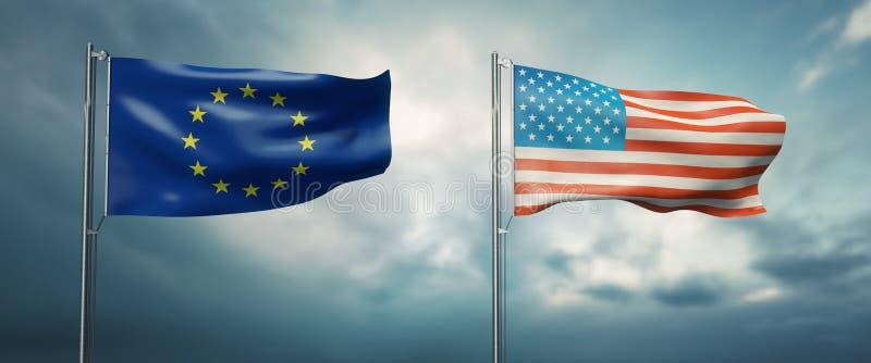 Twee vlaggen die van de staat van de Europese Unie en de Verenigde Staten van Amerika, elkaar onder ogen zien en zich in de winst royalty-vrije illustratie