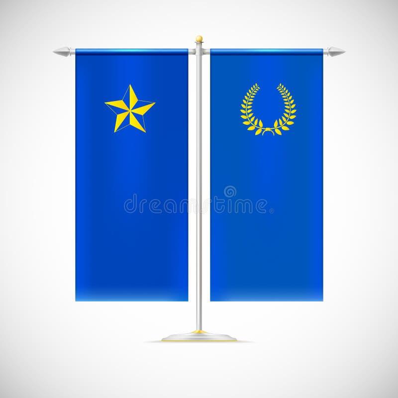 Twee vlaggen op een tribune stock illustratie