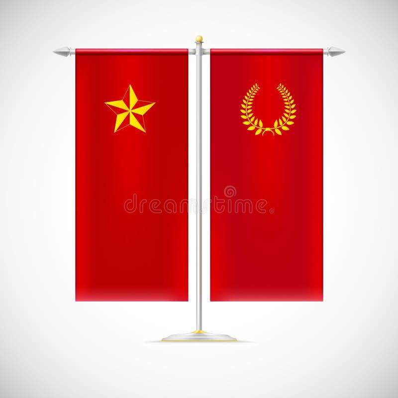Twee vlaggen op een tribune vector illustratie