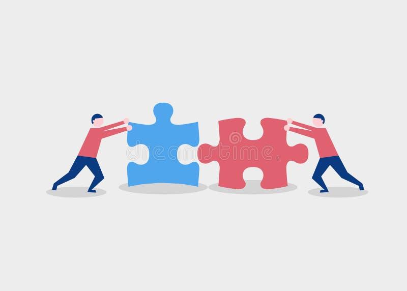 Twee vlakke stijlmensen die raadselelementen verbinden Bedrijfs, groepswerk en vennootschapconcept royalty-vrije illustratie